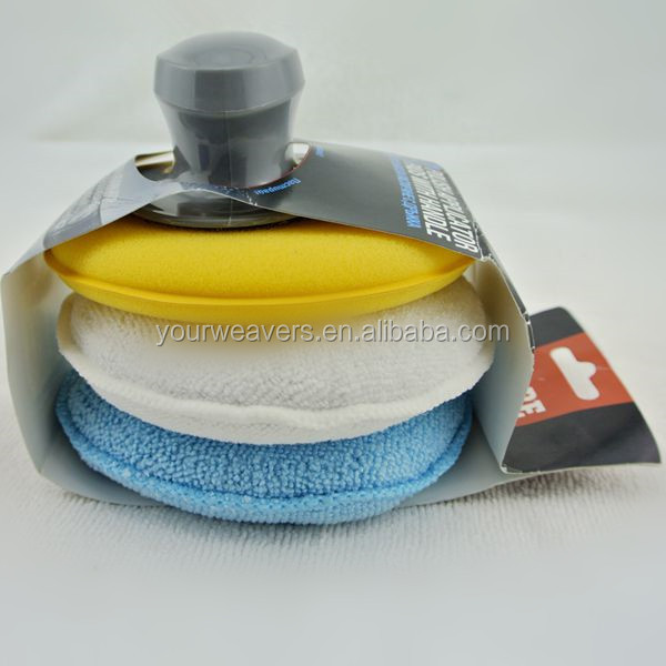 Microfiber car wax applicator pads with Grip