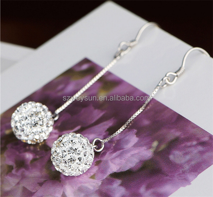 New Silver Plated Drop Earrings For Women High Quality Crystal Long Dangle Earrings Fashion Jewelry Wedding Gift