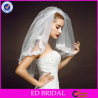 A02 Charming Thin Lace Trimming Special Custom Made Two Layers Short Bridal Veil