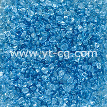 Blue glass stone, decorative crushed glass chips