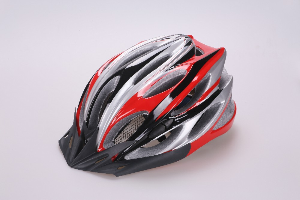 adult helmet with safety chin strap, quality adult biking helmet with sun visor , adult PC in-mold mountain bicycle helmet