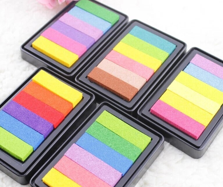 6 Colors in one large rainbow stamp Ink Pad --9.5 x 6.3cm