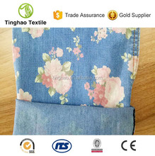 High quality stretch cotton blended print denim fabric mill