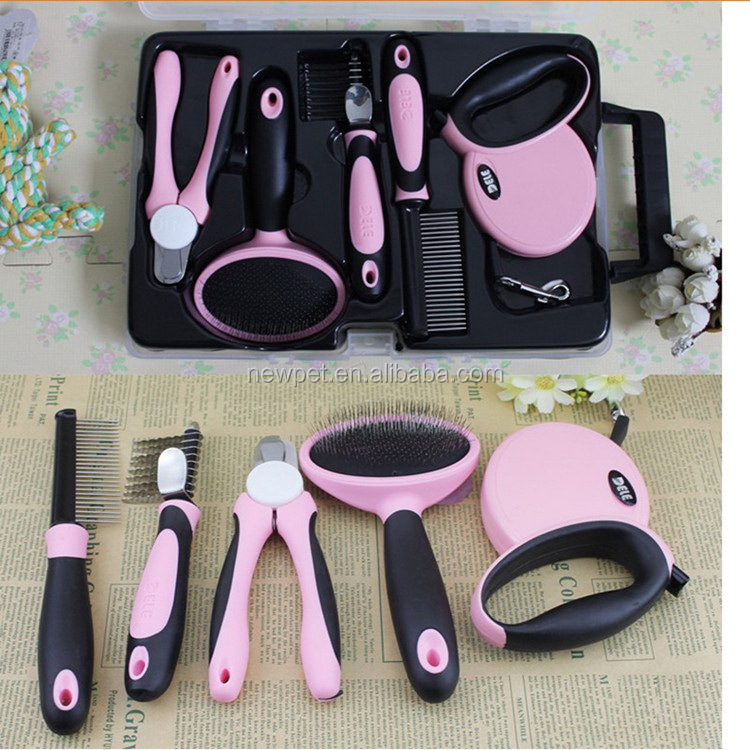 Top level new arrival 5 pcs/ set grooming tools pp pet dog brush
