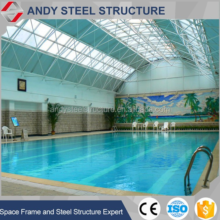swimming pool construction with steel space frame