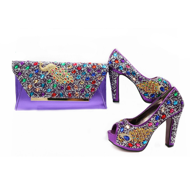 Sinyafashion purple fashion party italian shoes and bag set African matching shoes and bags