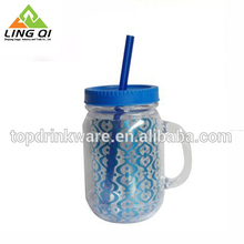 Wholesale BPA frre 20oz double wall plastic mason jar travel tumbler coffee mug with cover