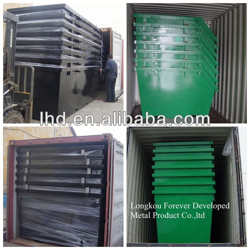 Q235 large garbage steel square waste bin for sale
