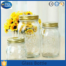 Customized logo small empty glass jar for honey