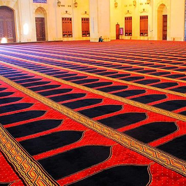 machine tufted PP grand mosque carpet, red carpet for mosque, green mosque prayer carpet designs for sale