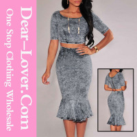 Sexy Fashion Women Acid Wash Denim Mermaid Overalls Skirt Set