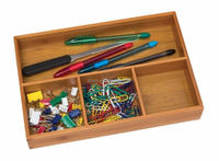 natural bamboo 4-compartment organizer tray organize and store small household items for quick and easy access
