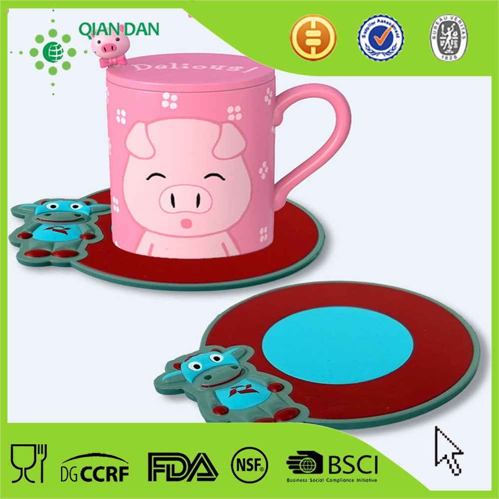 Hot Selling 3D printed cheap customized silicone cup mat and coaster