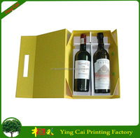 Trade Assurance Supplier Wholesale Fashion Two Bottles Paper Flip Top Wine Packaging Box With Magnetic Catch