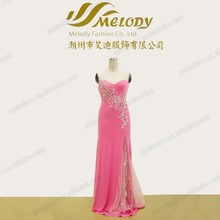 Gown embroidery beaded ruffle pink floor-length evening dress wholesale