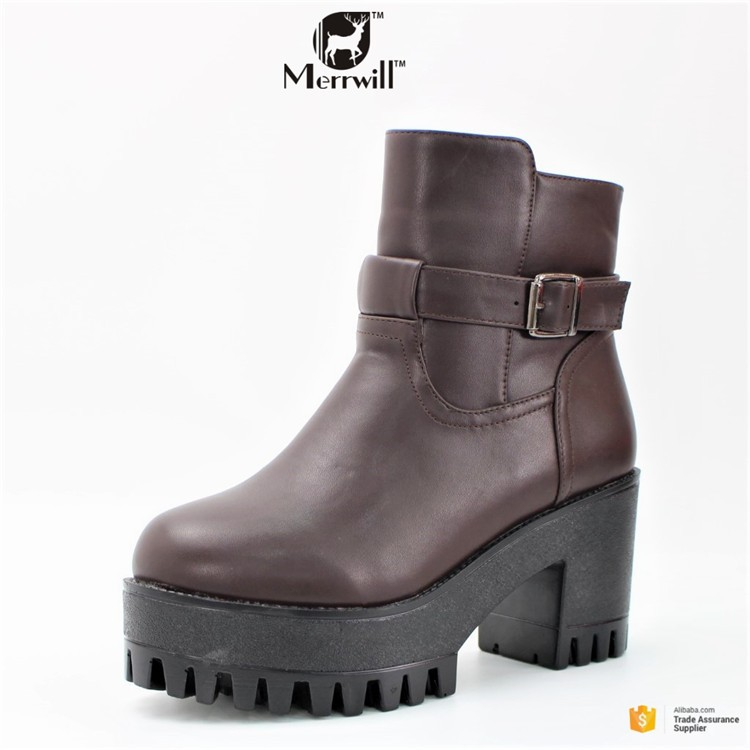 High Heel PU Leather Ladies Ankle Boots