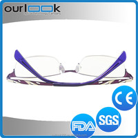 Purple Color Al-Mg Alloy Material Half Rim Anti Blue Ray Lens 5x Reading Glasses