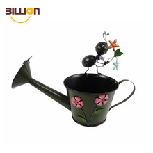 Rustic Metal Plant Flower Sprout Water Can Ant Stand Garden Watering Jug