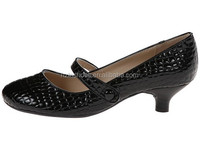 2015 New women's low heel pumps crocodile pu leather mary jane ankle strap dress shoes