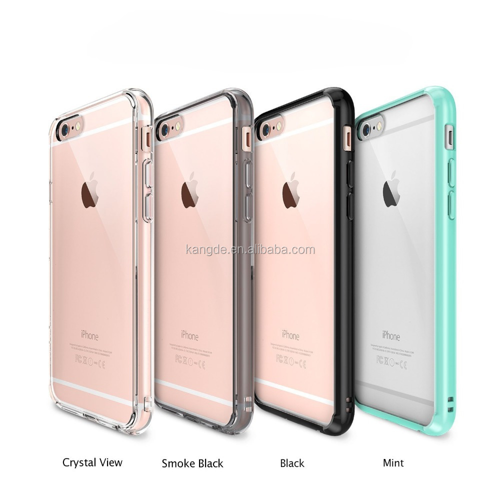 New hottest sale Clear Shock Absorbing Ultra Hybrid TPU Bumper+ PC Clear back panel Cases for iphone6S