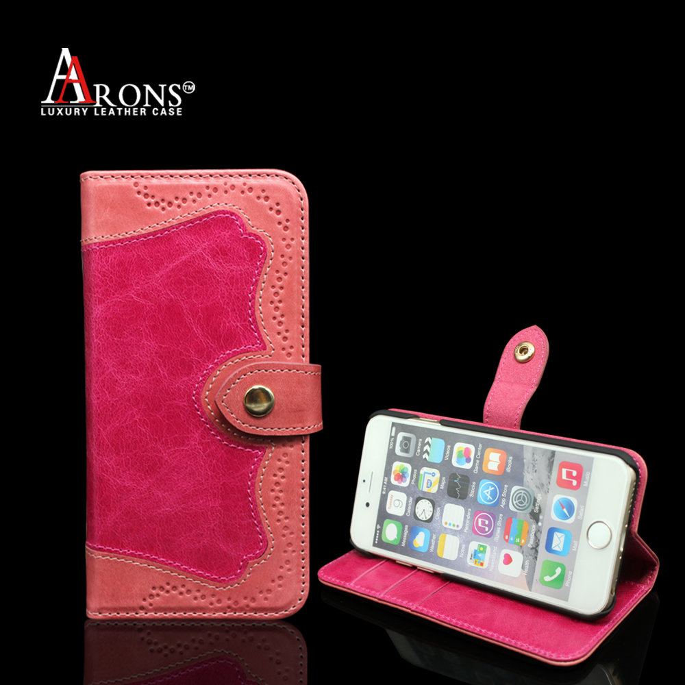 Aaron British style phone case genuine cowhide leather wallet phone case for iphone 5s/se