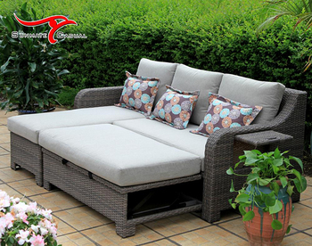 Leisure Life Outdoor Furniture Outdoor Cabana Beds Rattan Wicker Folding Corner Sofa Bed with Cushion