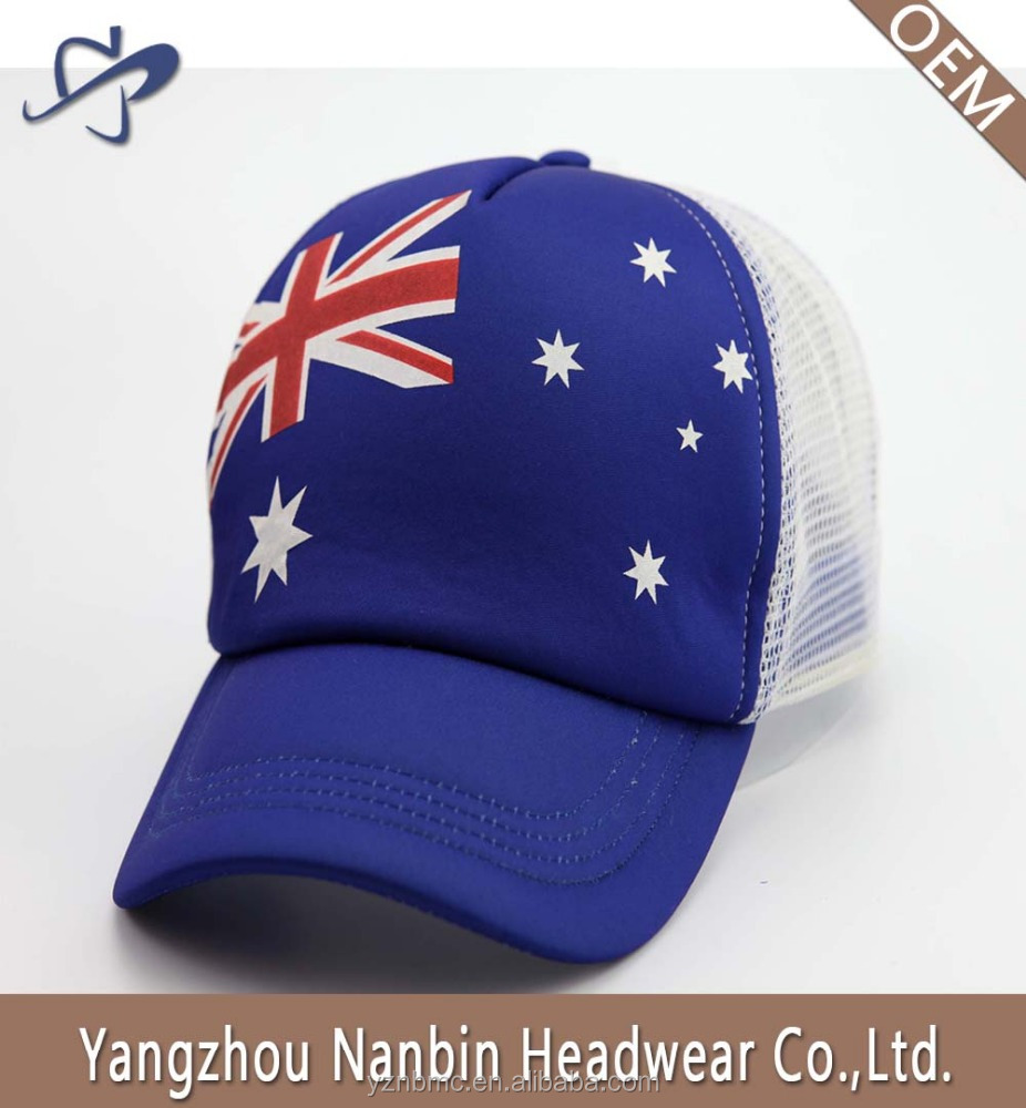 Promotion custom foam and mesh 5panel sports cap and plastic closure