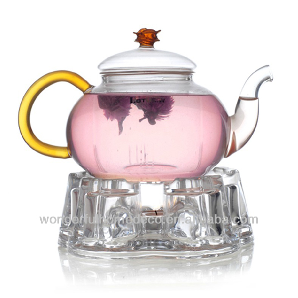 Glass tea hot pot with candle holder