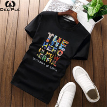 Decple Mens Colorful Letter Printed t-shirt Fashion tops tees fitness hip hop men cotton t shirts brand clothing for 2017 summer