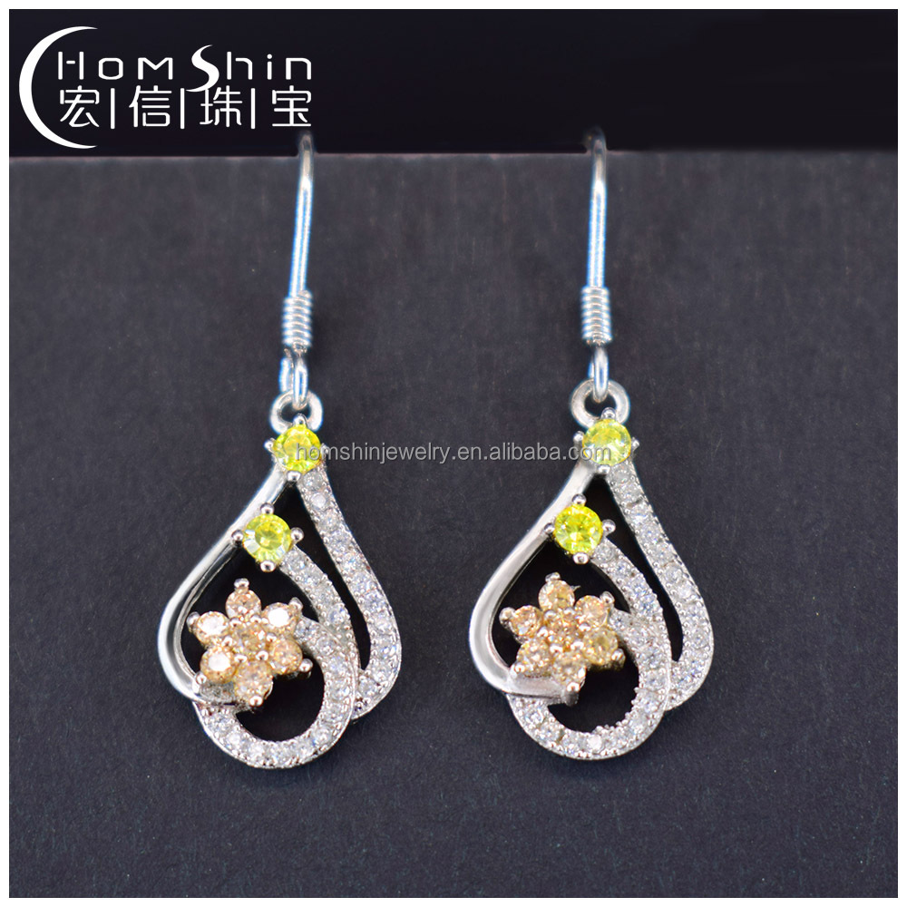 Dangle CZ silver earring