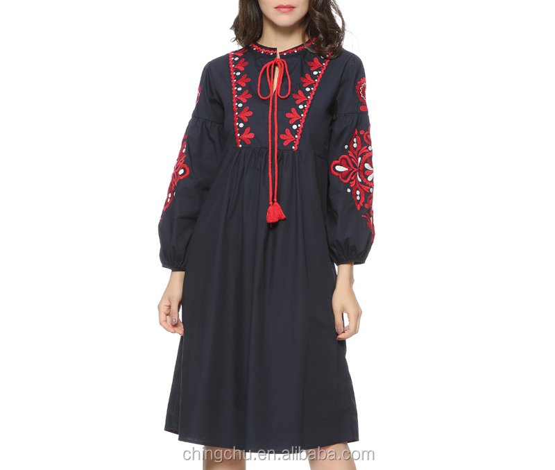 Women vintage floral embroidery dress drawstring tie tassels long sleeve Faldas festa casual brand loose retro dresses