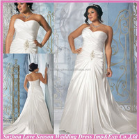 WD2923 Gorgerous sweetheart neck white strapless ruched stretch satin beaded pattern court train cheap plus size wedding dresses