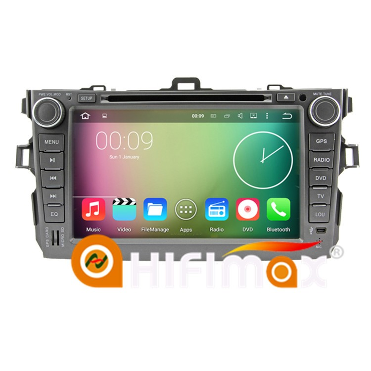 HIFIMAX New 8'' android 5.1.1 high definition 1024*600 16GB Quad-core car gps player for toyota corolla