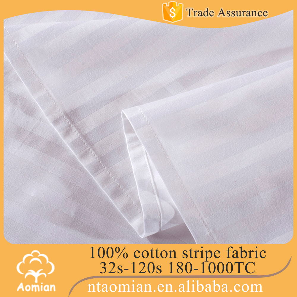 high grade sateen stripe hotel sheet fabric made in china