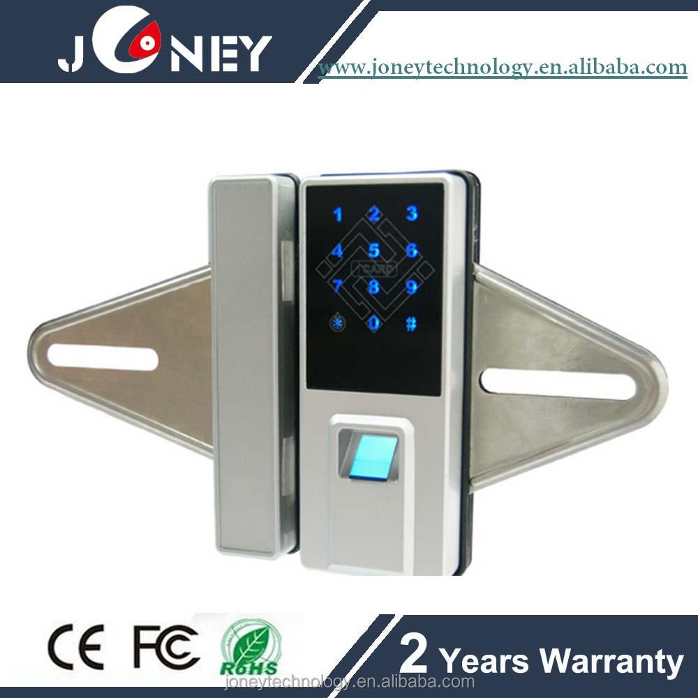 Home Security Fingerprint Glass Door Lock System With Motor Built Build In