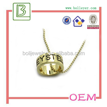 Gold Tone Ring Pendant Men Necklace with Ball Chain