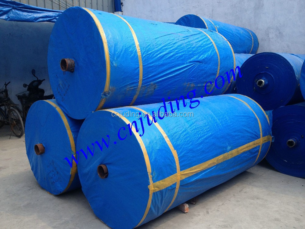 blue laminated tarps in roll