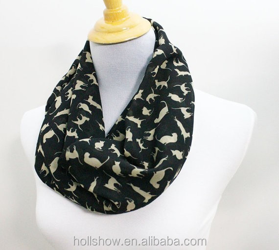 Hot Sale Cat Printed Infinity Women Fashion Chiffon Scarf