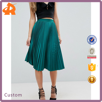 custom make your green plaid skirt,elegant women pleated skirt suit for girls