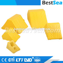 Wheel chock rubber, yellow chock the wheels of a truck