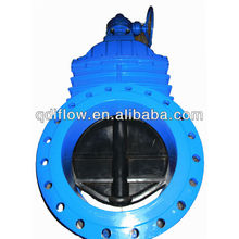 Bever gear box operated gate valve with rubber seat