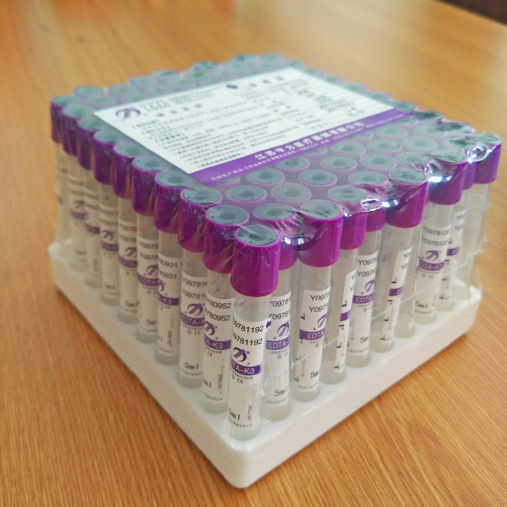 Purple top EDTA blood vial collection tubes with additive of K3