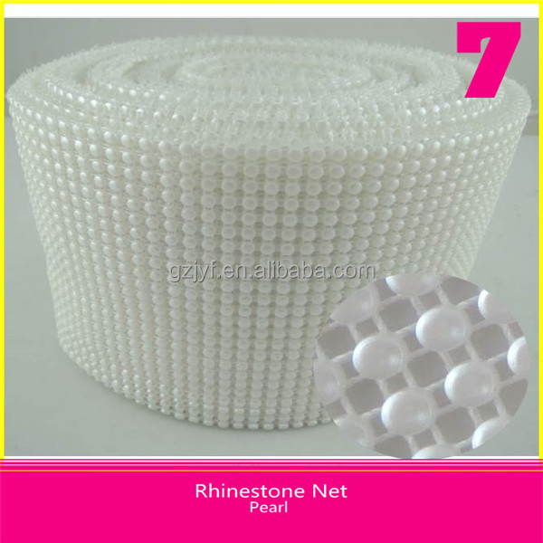 24 Row Pearl Mesh Plastic Material Round 4mm White Pearl 10 Yards Roll