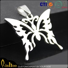 Fashion cheap stainless steel butterfly necklace pendant jewelry charm