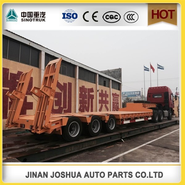 Heavy Load Sinotruk low bed semi tralier low price / flat deck semi trailer for construction transportation