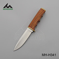 Fixed blade hunting knife with zebra wood handle