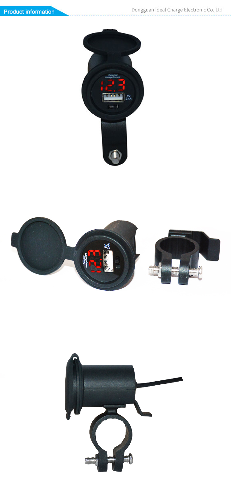 original factory motorcycle usb socket with voltage current display