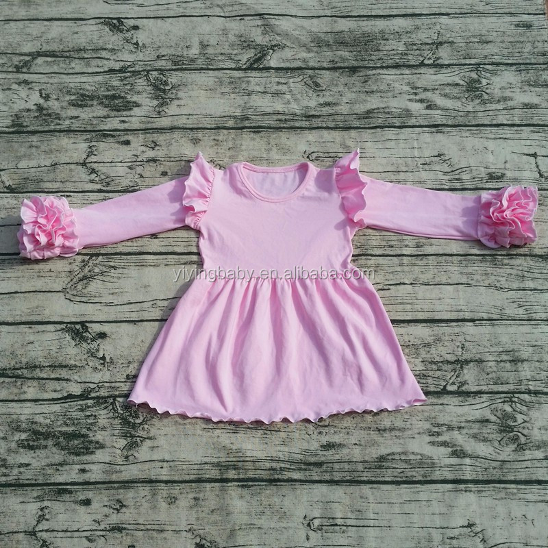 Wholesale Baby cotton frocks designs toddler long ruffle sleeve dress Cheap girls boutique dress