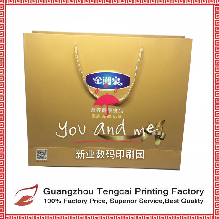 Promotion custom luxury gold paper bag with handle