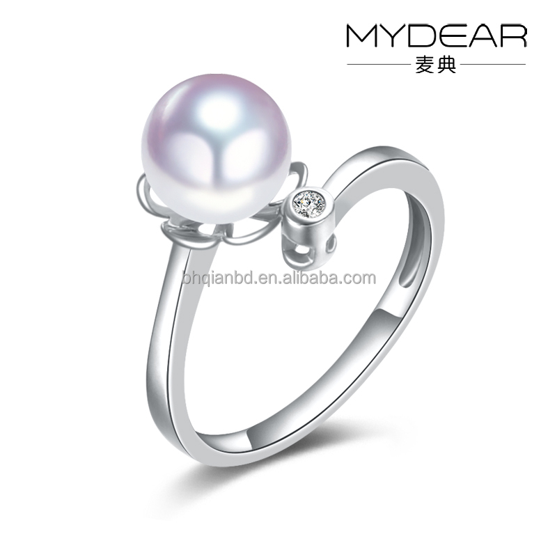 Natural seawater pearl ring/ AKOYA pearl and diamond design, perfect round for party